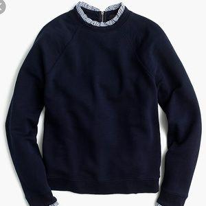 NWT Jcrew navy blue sweatshirt with ruffle trim